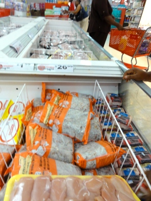 Frozen foods aisle, packaged sheep tongue