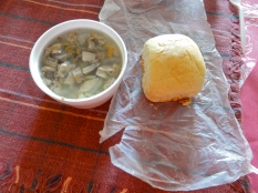 Sheep tongue souse and johnny cake