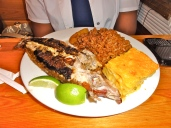 Grilled snapper with macaroni and peas and rice